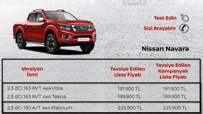 Nissan Navara Eylül 2019 Fiyatı