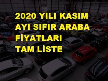 2020 YILI KASIM AYI SIFIR ARABA FİYATLARI TAM LİSTE